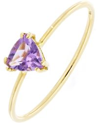 Bony Levy - Iris 18k Yellow Gold Prong Set Triangle Amethyst Ring - Lyst