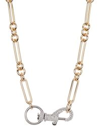 Rebecca Minkoff Two-tone Pave Lobster Closure Paperclip Necklace - Metallic