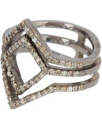Adornia Sterling Silver Diamond Pave Deco Ring - 0.50 Ctw - Metallic