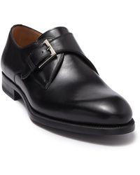 Magnanni Brodie Leather Monk Strap Dress Shoe - Black
