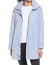 Via Spiga Packable Hooded Raincoat, Blue