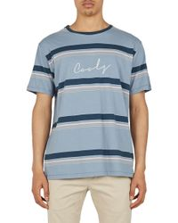 Barney Cools - Embroidered Script Stripe T-shirt - Lyst