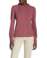 Adrianna Papell Ruffle Mock Neck Printed Blouse - Multicolor