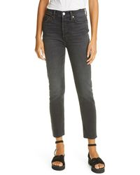 RE/DONE High Waist Stovepipe Jeans - Black
