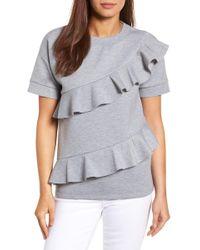 Halogen - (r) Ruffle Front Neopene Sweatshirt (regular & Petite) - Lyst