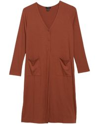 Halogen Long Ribbed Knit Cardigan - Brown