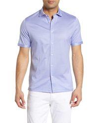 Bugatchi Textured Knit Regular Fit Shirt - Blue