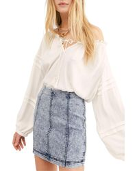 Free People Modern Femme Acid Wash Denim Skirt - Blue