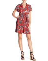 Angie - Crochet Back Front Button Floral Print Dress - Lyst