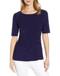 Chaus Short Sleeve Side Knot Top - Blue