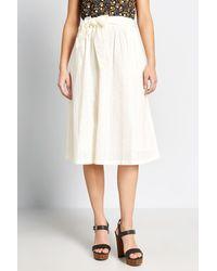ModCloth Sash Tie Midi Skirt - White