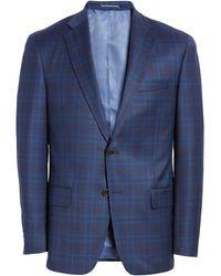 Hart Schaffner Marx Dark Blue Plaid Two Button Notch Lapel New York Fit Sport Coat