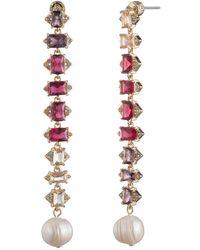 Carolee Pink Ombre Rhinestone Linear Freshwater Pearl Drop Earrings
