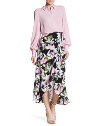 Vince Camuto - Faux Wrap Ruffle Trim Floral Print Skirt - Lyst