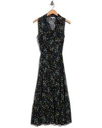 Calvin Klein Floral Sleeveless Tie Waist Maxi Dress - Black