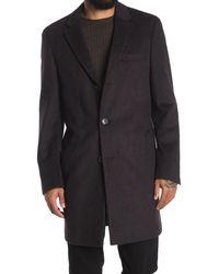 Hart Schaffner Marx Dobson Tonal Plaid Wool Blend Coat - Gray