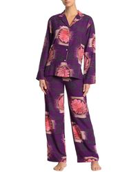 Natori Shangri-la Long Sleeve Shirt & Pants Pyjama 2-piece Set - Purple