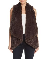 Wit & Wisdom Draped Faux Fur Vest - Brown