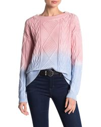 525 America Ombre Cable Knit Pullover - Pink