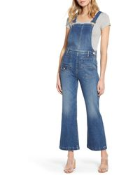 7 For All Mankind Georgia Crop Flare Overalls - Blue
