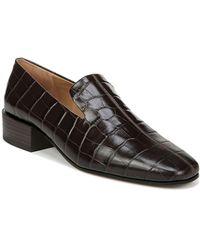 Via Spiga Baudelaire Croc Embossed Leather Loafer - Brown
