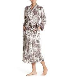 Natori Snow Leopard Print Plush Robe - Multicolour