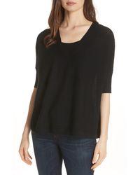 Eileen Fisher Merino Wool Three Quarter Sleeve Sweater - Black