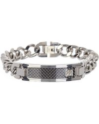 English Laundry Checker Id Bar Curb Chain Stainless Steel Bracelet In Silver/silver At Nordstrom Rack - Metallic