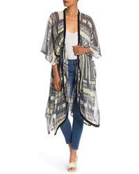 BCBGMAXAZRIA Patchwork Blocks Kimono Robe - Black