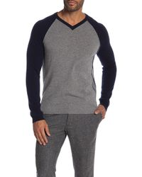 Autumn Cashmere - V-neck Raglan Piped Cashmere Sweater - Lyst