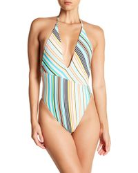 The Bikini Lab - Stripe Plunge One-piece Swimsuit - Lyst
