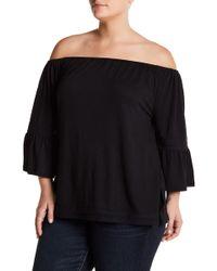 Cable & Gauge - Off-the-shoulder Crochet Trim Bell Sleeve Blouse (plus Size) - Lyst