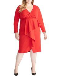 RACHEL Rachel Roy Long Sleeve Wrap Top Ruffle Front Dress - Red