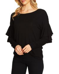 Cece by Cynthia Steffe - Tiered Ruffled Shoulder Ribbed Top - Lyst