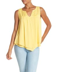 Democracy Embroidered Tank Top - Yellow
