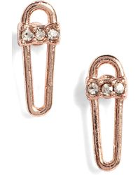 Rebecca Minkoff - Mini Safety Pin Earrings - Lyst