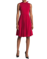 Maggy London Bow Neck Sleeveless Pleated Fit & Flare Dress - Red