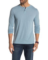 Theory Gaskell Long Sleeve Henley - Blue