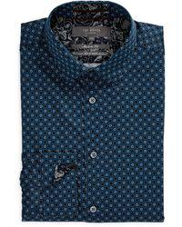 Ted Baker Trim Fit Geo Flower Stretch Dress Shirt - Blue