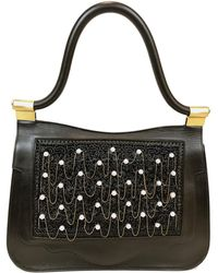Thale Blanc Audrey Couture Faux Pearl Calf Leather Bag - Black