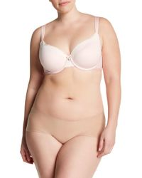a408e55513f5f Lyst - Curvy Couture Unlined Lace Balconette Bra (c-h Cups) in Natural