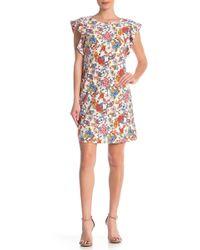 a8dcbd48 Eci Cap-sleeve Printed Scuba Sheath Dress - Lyst