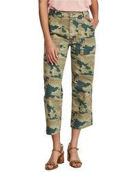 Urban Outfitters Remy Camo Printed Cotton Crop Wide Leg Pant - Green