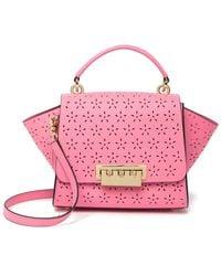 Zac Zac Posen Eartha Lasercut Floral Leather Top Handle Bag - Pink
