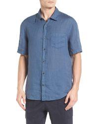 Vince Trim Fit Linen Sport Shirt - Blue
