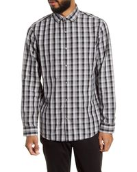 Calibrate Trim Fit Check Button-up Shirt - Grey