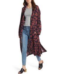 Treasure & Bond Throw On Kimono Sleeve Jacket - Blue