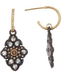 Armenta Old World 18k Gold & Blackened Sterling Silver Pave Scroll Huggie Earrings