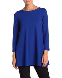 Eileen Fisher Solid Long Sleeve Tunic Top (petite) - Blue
