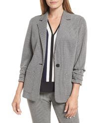 Vince Camuto - Ruched Sleeve Mini Houndstooth Jacket (regular & Petite) - Lyst